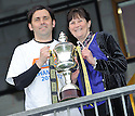 Alloa manager Paul Hartley with his mum, Ann, after lifting the 3rd division trophy.