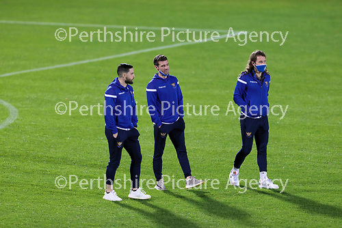 Dunfermline v St Johnstone…15.12.20   East End Park      BetFred Cup<br />Craig Conway, Craig Bryson and Stevie May take a look at the pitch at East End Park ahead of tonights game<br />Picture by Graeme Hart.<br />Copyright Perthshire Picture Agency<br />Tel: 01738 623350  Mobile: 07990 594431