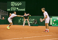 September 13, 2014, Netherlands, Amsterdam, Ziggo Dome, Davis Cup Netherlands-Croatia, Doubles, Cilic/Draganja <br /> Photo: Tennisimages/Henk Koster
