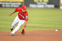 Potomac Nationals shortstop Stephen Perez (2) fields a ground ball during a game against the Lynchburg Hillcats on April 26, 2014 at Pfitzner Stadium in Woodbridge, Virginia.  Potomac defeated Lynchburg 6-2.  (Mike Janes/Four Seam Images)