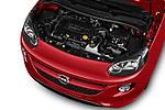 Car stock 2017 Opel Adam S 3 Door Hatchback engine high angle detail view
