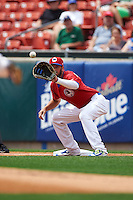 Buffalo Bisons first baseman Chris Colabello (15) waits for a throw during a game against the Syracuse Chiefs on July 31, 2016 at Coca-Cola Field in Buffalo, New York.  Buffalo defeated Syracuse 6-5.  (Mike Janes/Four Seam Images)