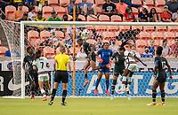 HOUSTON, TX - JUNE 13: Rasheedat Ajibade #15 of Nigeria heads the ball during a game between Nigeria and Portugal at BBVA Stadium on June 13, 2021 in Houston, Texas.