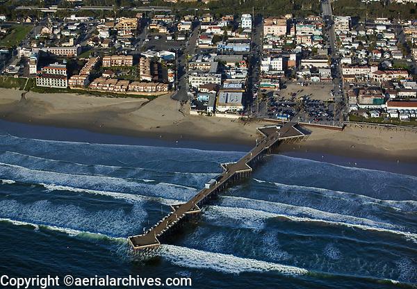 aerial photograph of  of the Pismo Beach Pier, San Luis Obispo County, California
