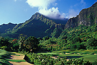 Koolau golf course, hole #18, beneath the pali lookout in Kailua, Windward Oahu. Architects: Dick Nugent and Jack Tuthill