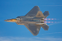 An F-22 demonstrates its power during Aviation Nation at Nellis Air Force Base in Las Vegas, NV.