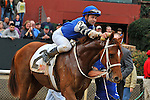 Jockey Joe Bravo gives Junebugred a sponge down after their victory in the 5th running of the Smarty Jones stakes Monday afternoon at Oaklawn Park in Hot Springs