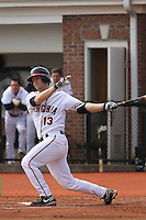 University of Virginia infielder Jared King #13 at bat during a game against the Boston College Eagles at Watson Stadium at Vrooman Field on February 17, 2012 in Conway, SC.  Boston College defeated Virginia 5-3.  (Robert Gurganus/Four Seam Images)