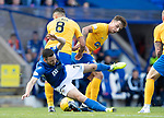 St Johnstone v Kilmarnock…31.08.19   McDiarmid Park   SPFL<br />Drey Wright is brought down by Gary Dicker and Eamonn Brophy<br />Picture by Graeme Hart.<br />Copyright Perthshire Picture Agency<br />Tel: 01738 623350  Mobile: 07990 594431