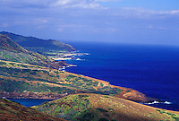 Coastline and clear blue water seen from above Hanauma Bay, toward Sandy Beach, Oahu, Hawaii