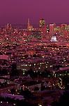 Retro Image of San Francisco downtown San Francisco illuminated at night from Corona Heights Park, San Francisco, California USA