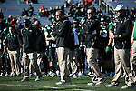 DENTON, TX  JANUARY 1:  Head coach Dan McCarney of the North Texas Mean Green and Mike Canales assistant coach during the game UNLV Rebels Heart of Dallas Bowl at Cotton Bowl Stadium in Dallas on January 1, 2014 in Dallas, TX.  Photo by Rick Yeatts North Texas won 36-14 over UNLV.