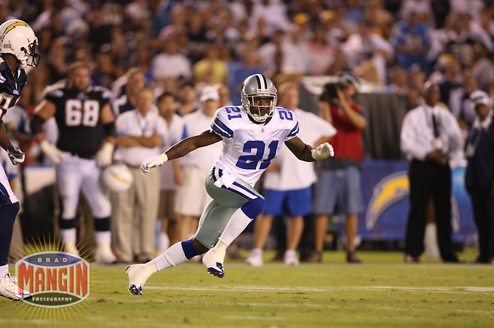 SAN DIEGO - AUGUST 9:  Adam (Pac Man) Jones of the Dallas Cowboys in action during their exhibition game against the San Diego Chargers at Qualcomm Stadium in San Diego, California on August 9, 2008.  Photo by Brad Mangin