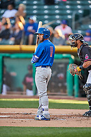 Stephen Bruno (11) of the Iowa Cubs bats against the Salt Lake Bees in Pacific Coast League action at Smith's Ballpark on May 13, 2017 in Salt Lake City, Utah. Salt Lake defeated Iowa  5-4. (Stephen Smith/Four Seam Images)