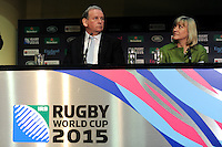 England Rugby 2015 Chief Executive Debbie Jevans looks at England Rugby 2015 Chairman Andy Cosslett during the Rugby World Cup 2015 Venues and Match Schedule Launch at Twickenham Stadium on Thursday 2nd May 2013 (Photo by Rob Munro)