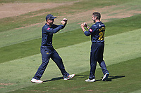 Andrew Salter of Glamorgan celebrates taking the wicket of Will Buttleman during Glamorgan vs Essex Eagles, Vitality Blast T20 Cricket at the Sophia Gardens Cardiff on 13th June 2021
