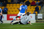 St Johnstone v Inverness Caley Thistle..29.12.12      SPL.Gregory Tade through one on one with the Antonio Reguero hits the ball staright at him.Picture by Graeme Hart..Copyright Perthshire Picture Agency.Tel: 01738 623350  Mobile: 07990 594431