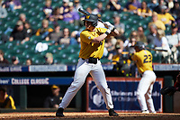 Luke Mann (16) of the Missouri Tigers at bat against the Oklahoma Sooners in game four of the 2020 Shriners Hospitals for Children College Classic at Minute Maid Park on February 29, 2020 in Houston, Texas. The Tigers defeated the Sooners 8-7. (Brian Westerholt/Four Seam Images)