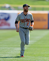 Colin Moran (8) of the Fresno Grizzlies during the game against the Salt Lake Bees in Pacific Coast League action at Smith's Ballpark on April 16, 2017 in Salt Lake City, Utah. Salt Lake defeated Fresno 5-4. (Stephen Smith/Four Seam Images)