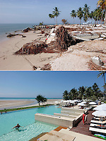 A tsunami struck the coast of Thailand on the morning of December 26. 2004. Pakarang Blue Village resort was totally wiped out, today a new resort, Apsara, is in the same location, and tourists has returned..The destruction was great in  Khao Lak, north of Phuket, were thousands of tourists and locals died. Large holiday resorts were reduced to rubble.