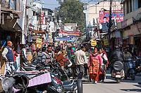 India, Dehradun.  Busy Shopping Street in Central Dehradun.