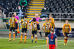 Unhappy hull players surround Referee Charles Breakspear after he awarded a penalty for handball to Sunderland. Hull 2 Sunderland 2, League One 20th April 2021.