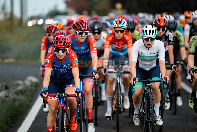 The start of La Fleche Wallonne Femmes 2020, running 124km from Huy to Mur de Huy, Belgium. 30th September 2020.<br /> Picture: ASO/Thomas Maheux | Cyclefile<br /> All photos usage must carry mandatory copyright credit (© Cyclefile | ASO/Thomas Maheux)