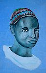 Portrait d un jeune Nubien sur la facade d une maison du village de Koti