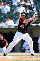 Rochester Red Wings first baseman Brad Nelson (30) at bat during the first game of a doubleheader against the Buffalo Bisons on July 6, 2014 at Frontier Field in Rochester, New  York.  Rochester defeated Buffalo 6-1.  (Mike Janes/Four Seam Images)