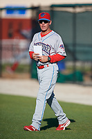 Clearwater Threshers manager Marty Malloy (2) walks to home plate for the pregame umpires meeting before a Florida State League game against the Dunedin Blue Jays on May 11, 2019 at Jack Russell Memorial Stadium in Clearwater, Florida.  Clearwater defeated Dunedin 9-3.  (Mike Janes/Four Seam Images)