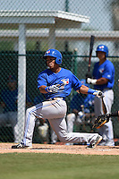 Toronto Blue Jays Alexis Maldonado (18) during a minor league spring training game against the Pittsburgh Pirates on March 21, 2015 at Pirate City in Bradenton, Florida.  (Mike Janes/Four Seam Images)