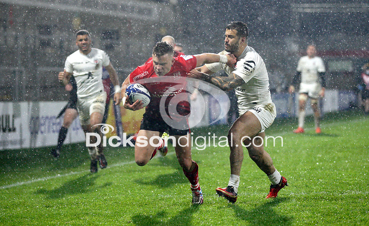 11 December 2020; Ian Madigan scores Ulsters second try during the Heineken Champions Cup Pool B Round 1 match between Ulster and Toulouse at Kingspan Stadium in Belfast. Photo by John Dickson/Dicksondigital