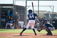 San Diego Padres right fielder Cristian Heredia (44) at bat in front of catcher Luis Avalo (97) during an Instructional League game against the Milwaukee Brewers at Peoria Sports Complex on September 21, 2018 in Peoria, Arizona. (Zachary Lucy/Four Seam Images)