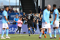 San Jose, CA - Saturday March 31, 2018: Yeferson Quintana celebrates scoring during a Major League Soccer (MLS) match between the San Jose Earthquakes and New York City FC at Avaya Stadium.