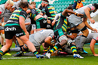 13th March 2021; Franklin's Gardens, Northampton, East Midlands, England; Premiership Rugby Union, Northampton Saints versus Sale Sharks; Lood de Jager of Sale Sharks is bundled over by his pack for a try