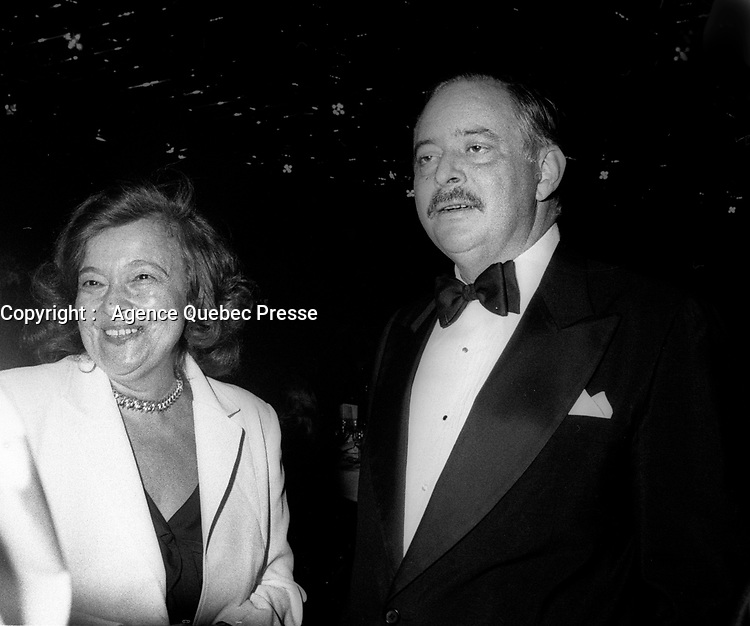 FILE -<br /> Jacques Parizeau et sa premiere femme Alice Parizeau le 18 septembre 1985<br /> <br /> PHOTO  : Pierre Roussel - Agence Quebec Presse