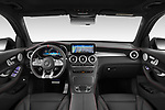 Stock photo of straight dashboard view of 2021 Mercedes Benz GLC AMG-43 5 Door SUV Dashboard