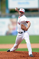 Pawtucket Red Sox starting pitcher Allen Webster #11 during a game versus the Indianapolis Indians at McCoy Stadium in Pawtucket, Rhode Island on May 19, 2013.  (Ken Babbitt/Four Seam Images)