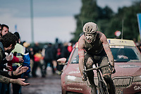 Guillaume Boivin (CAN/Israel Start-Up Nation) exiting the Carrefour de l'Arbre<br /> <br /> 118th Paris-Roubaix 2021 (1.UWT)<br /> One day race from Compiègne to Roubaix (FRA) (257.7km)<br /> <br /> ©kramon