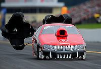 Oct. 1, 2011; Mohnton, PA, USA: NHRA pro stock driver V. Gaines during qualifying for the Auto Plus Nationals at Maple Grove Raceway. Mandatory Credit: Mark J. Rebilas-