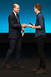 © Joel Goodman - 07973 332324. 06/12/2017 . Manchester , UK . DJ GREG JAMES introduces PRINCE WILLIAM (l) for the Prince's speech to the audience . The Duke And Duchess Of Cambridge, Prince William and Kate Middleton, attend the Children's Global Media Summit at the Manchester Central Convention Centre . Photo credit : Joel Goodman