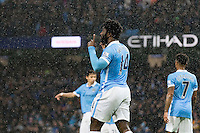 Wilfried Bony celebrates scoring his sides first goal during the Barclays Premier League Match between Manchester City and Swansea City played at the Etihad Stadium, Manchester on 12th December 2015. 1-0