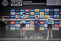 Wout Van Aert (BEL/Jumbo Visma) on the podium<br /> <br /> 88th UCI Road World Championships 2021 – ITT (WC)<br /> Men's Elite Time trial from Knokke-Heist to Brugge (43.3km)<br /> <br /> ©Kramon