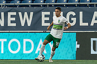 FOXBOROUGH, MA - AUGUST 26: Carlos Gomez #10 of Greenville Triumph SC looks to pass during a game between Greenville Triumph SC and New England Revolution II at Gillette Stadium on August 26, 2020 in Foxborough, Massachusetts.