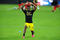WASHINGTON, DC - OCTOBER 28: Waylon Francis #14 of Columbus Crew SC warming up during a game between Columbus Crew and D.C. United at Audi Field on October 28, 2020 in Washington, DC.
