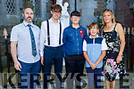 Rian Curtin former student of CBS NS receiving his Confirmation in St Johns Church, Tralee on Sunday. L to r: Mark, Mark Jnr, Rian, Daniel and Monica Curtin.