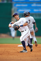 NW Arkansas Naturals second baseman Kenny Diekroeger (8) throws to first during a game against the San Antonio Missions on May 30, 2015 at Arvest Ballpark in Springdale, Arkansas.  San Antonio defeated NW Arkansas 5-1.  (Mike Janes/Four Seam Images)
