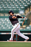GCL Orioles designated hitter Jose Lizarraga (32) follows through on a swing during the first game of a doubleheader against the GCL Twins on August 1, 2018 at CenturyLink Sports Complex Fields in Fort Myers, Florida.  GCL Twins defeated GCL Orioles 7-6 in the completion of a suspended game originally started on July 31st, 2018.  (Mike Janes/Four Seam Images)