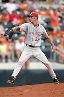Pitcher Dillon Overton #13 of the Oklahoma Sooners winds up against the Texas Longhorns in NCAA Big XII baseball on May 1, 2011 at Disch Falk Field in Austin, Texas. (Photo by Andrew Woolley / Four Seam Images)