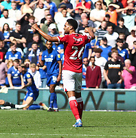 28th August 2021; Cardiff City Stadium, Cardiff, Wales;  EFL Championship football, Cardiff versus Bristol City; Zak Vyner of Bristol City celebrates after Andreas Weimann scores to make it 0-1 in the 21st minute
